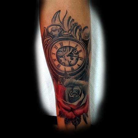 Clock with Red and grey Rose