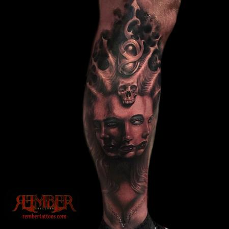 Tattoos - Black and Grey, Gothic Realism Fusion portrait - 108661
