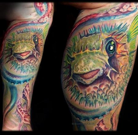 Tattoos - realistic color puffer fish and octopus tattoo - 131423