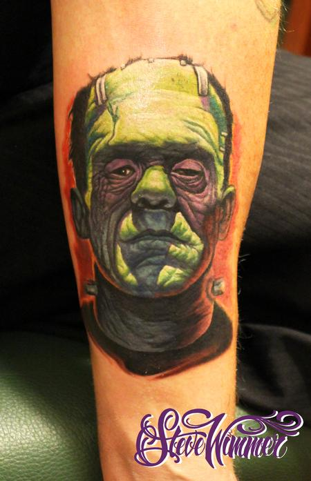 Frankenstein color portrait Tattoo Design Thumbnail