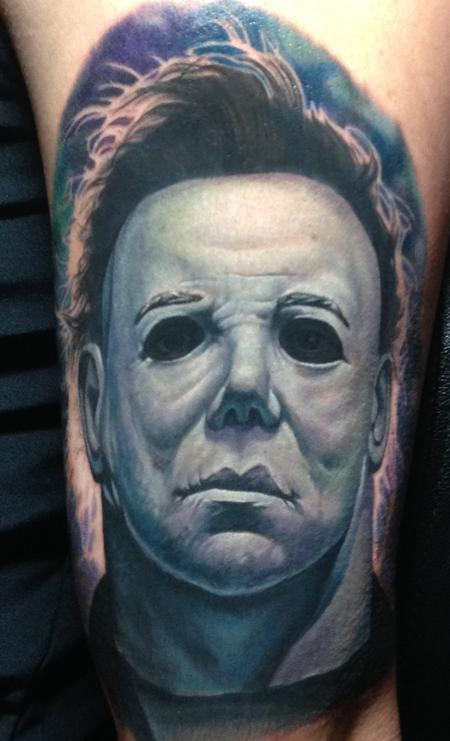 Halloween michael myers tattoo by steve wimmer tattoonow for Michael myers tattoo