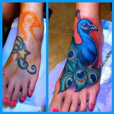 Peacock Cover-up Tattoo Design Thumbnail
