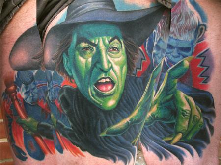 Tattoos - Wizard of Oz Wicked Witch Portrait (Healed)