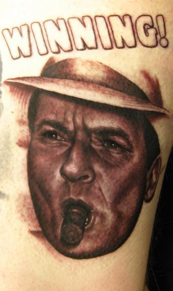 Steve Wimmer - Charlie Sheen Winning Portrait Tattoo
