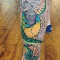 Tattoos - ayahuasca snake hand - 86599