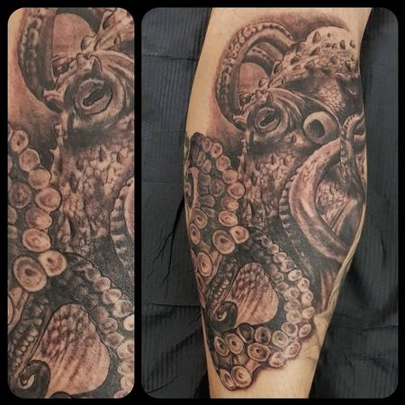 Tattoos - Octopus on leg - 134676