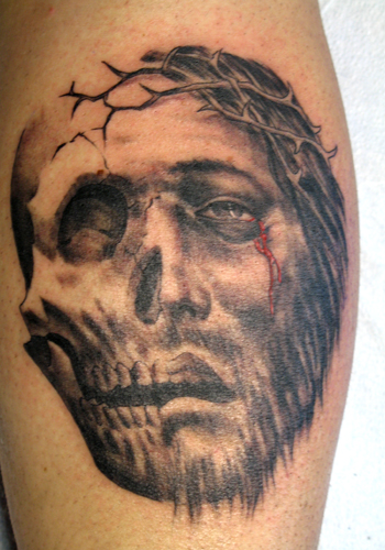Tattoos Nic Skrade Jesus Skull click to view large image