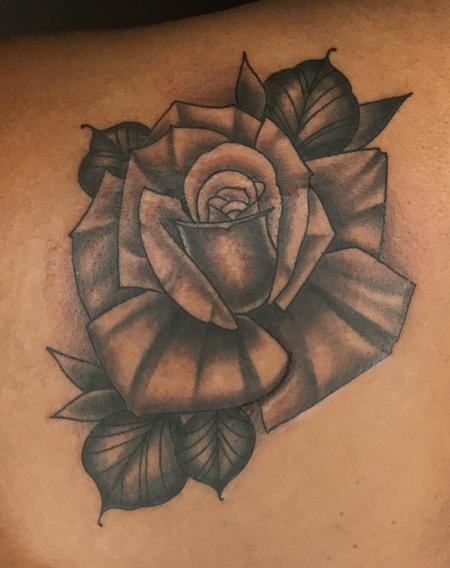 Tattoos - Black and Gray Rose - 134939