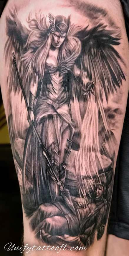 Tattoos - Valkyrie and Soldier Tattoo - 129394