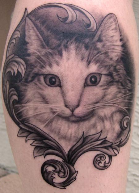 Tattoos - Black and Gray Cat with Filigree - 56783