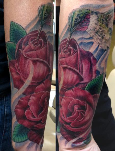 Tattoos - Hummingbird and Roses - 75944