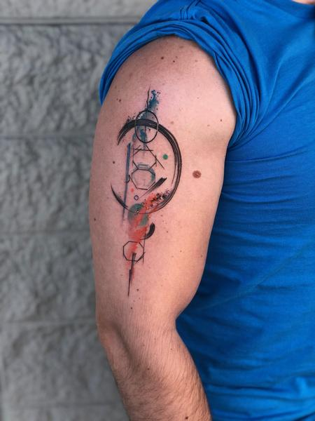 Drew  - Abstract Watercolor Tattoo