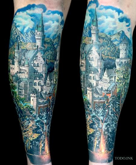 Neuschwanstein Castle Tattoo Design