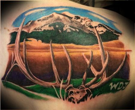 Elk and Landscape Tattoo Design
