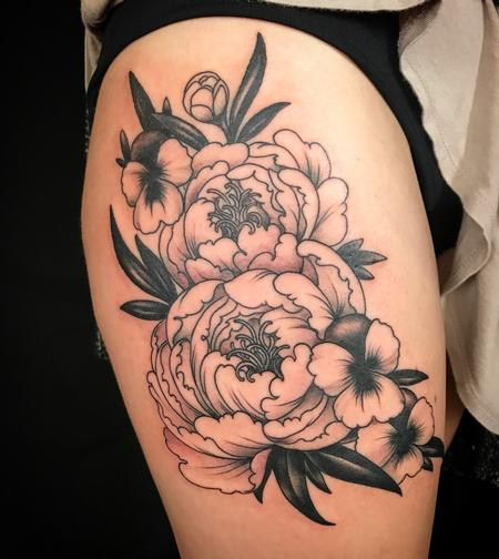 Black and grey flowers  Tattoo Design