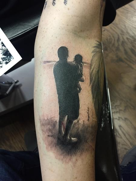 Tattoos - Father Daughter Silhouette Tattoo - 109948