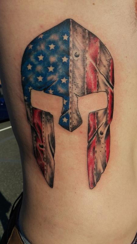 American flag Spartan helmet Tattoo Design