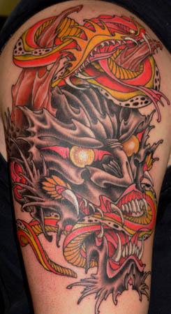 Demon and Snake Tattoo Design