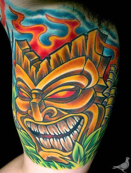 Tattoos - Color Tiki Mask Tattoo - 115638