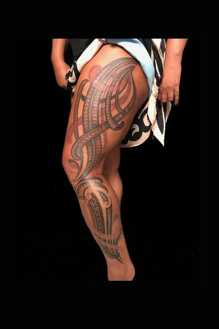female polynesian leg piece Tattoo Design