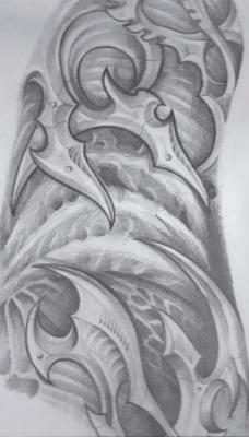 Bio-Organic Drawing Tattoo Design