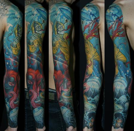 Tattoos - Full Color Dead fisherman sleeve tattoo - 114752