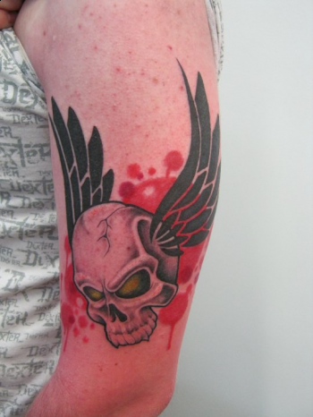 Custom flying skull tattoo Tattoo Design