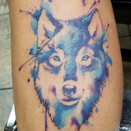 Tattoos - Blue Watercolor Wolf - 141379