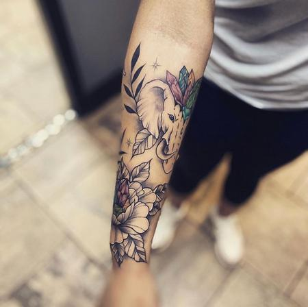 Tattoos - Flowers and Elephant - 141385