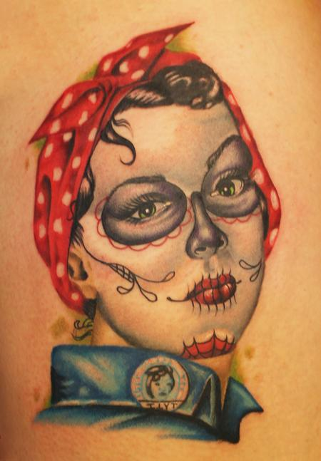 Day of the Dead Rosie the Riveter Tattoo Design