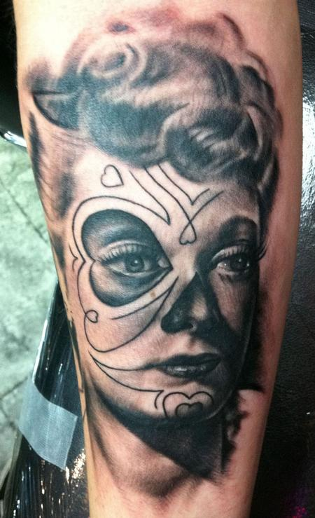 Black and Gray Lucille Ball Tattoo Design