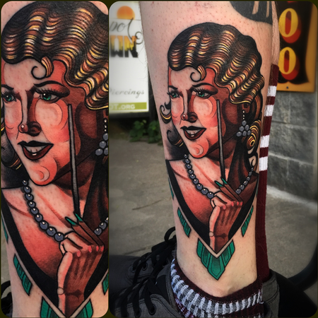 Lady Face Tattoo Design