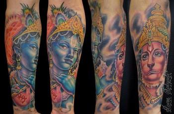 Tattoos - krishna and hanuman tattoo - 35512