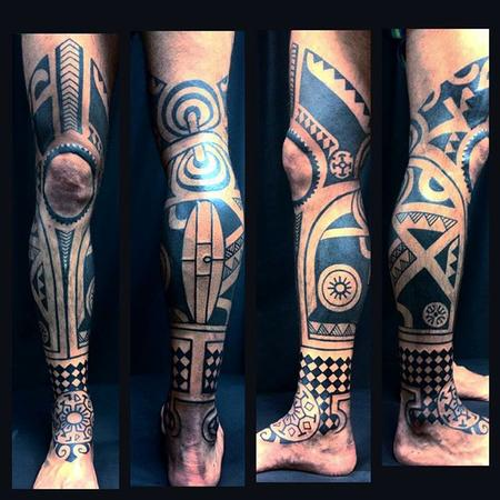 Polynesian Leg Sleeve Tattoo Design
