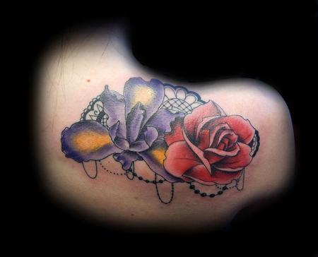 Tattoos - Full color Rose and Iris with lace and beads - 86673