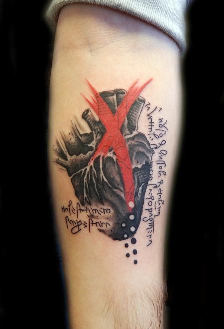 Tattoos - Trash Polka Da Vinci heart - 100318