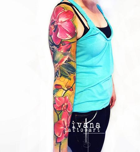 Ivana Tattoo Art - Hummingbird and Orchids