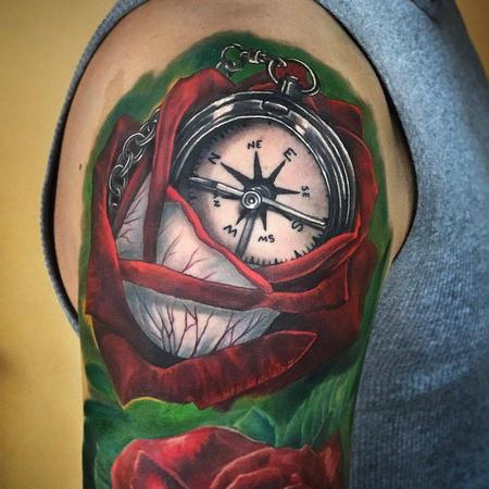 Rose and Compass  Tattoo Design