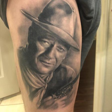 Tattoos - John Wayne Portrait Tattoo healed - 138613