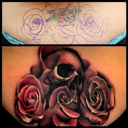 Tattoos - Skull and Roses Coverup Tattoo - 137660