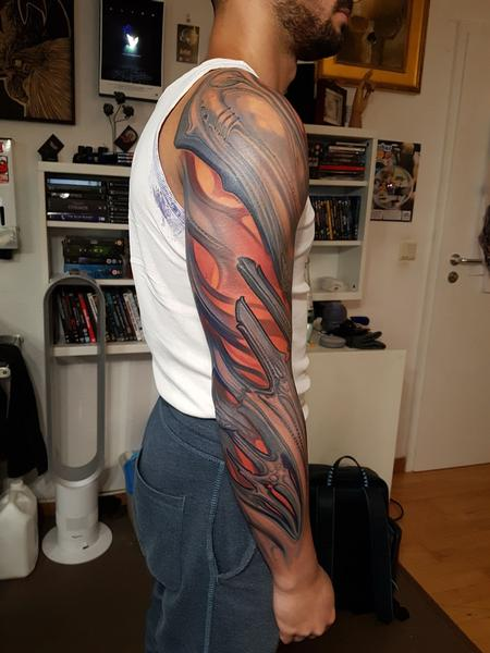 Lux Altera - Abstract Arm Bio Tattoo
