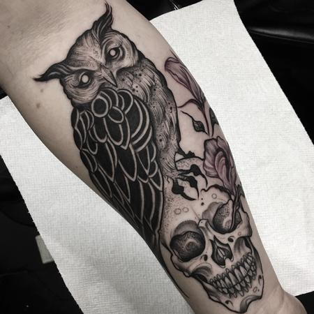 Blackwork Owl and Skull Tattoo Design