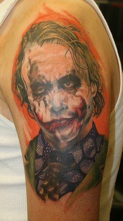 joker color portrait 1st session  Tattoo Design