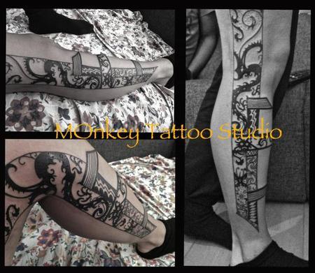 Custom Black Work Tattoo Tattoo Design