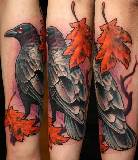 Crow leaves Tattoo Design