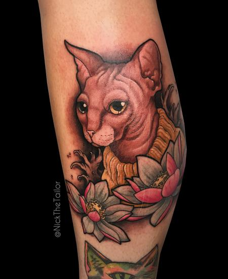 Sphinx cat and lotus flowers... Tattoo Design
