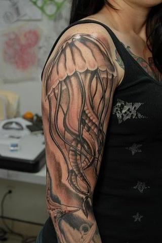Tattoos - Black and Grey Jellyfish Tattoo - 63542