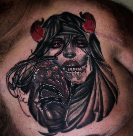 Tattoos - Al Perez Demon Woman Eating Heart - 140103