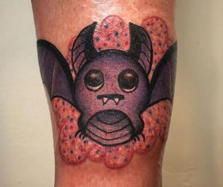 Tattoos - Sparkly Purple Bat Tattoo - 137829