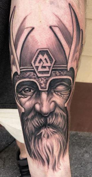 Tattoos - Black and Gray Freehand Odin Tattoo - 136113